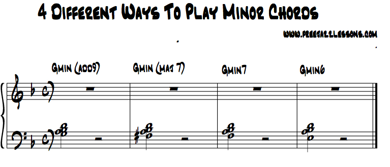minor piano chords