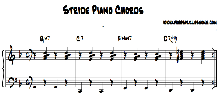 Piano piano chords exercises : Stride Piano Lesson: Free Video Lesson and Tips